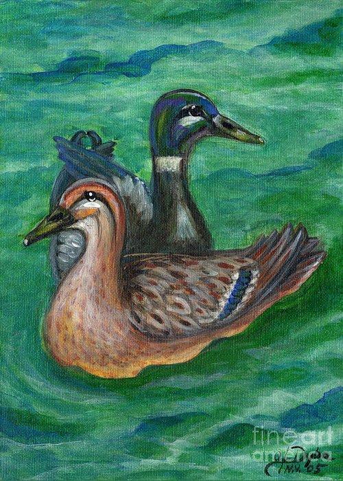 Folkartanna Greeting Card featuring the painting Mallard Ducks by Anna Folkartanna Maciejewska-Dyba