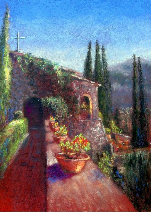 Mallorca Greeting Card featuring the painting Mallorcan Monastery by Shirley Leswick