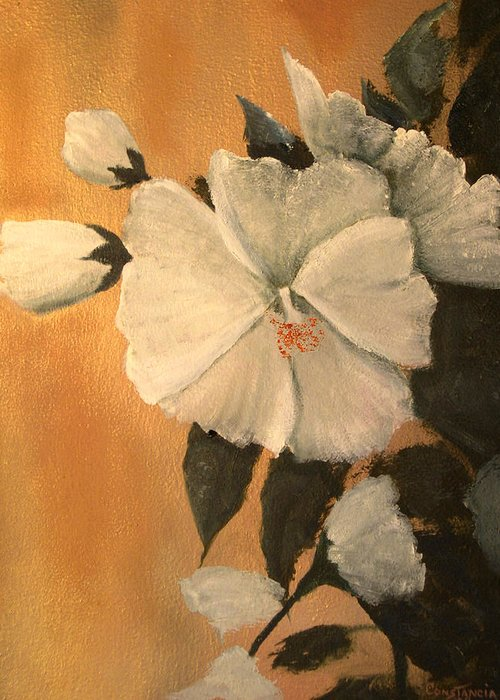 A Painting A Day Greeting Card featuring the painting Mallow by Connie Tom