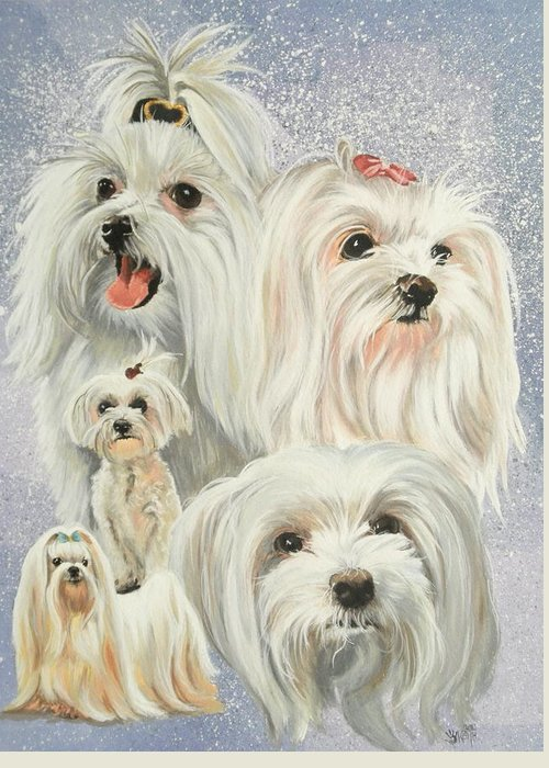 Dog Greeting Card featuring the painting Maltese Collage by Barbara Keith
