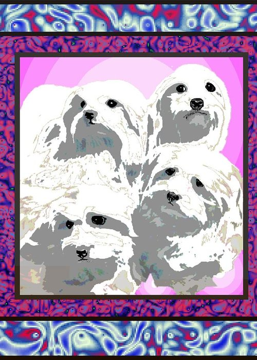 Maltese Group Greeting Card featuring the digital art Maltese Group by Kathleen Sepulveda
