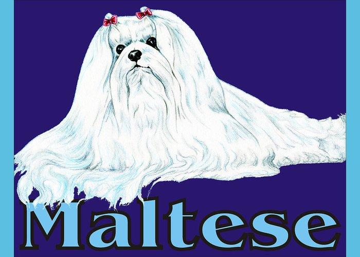 Maltese Greeting Card featuring the digital art Maltese Pop Art by Kathleen Sepulveda