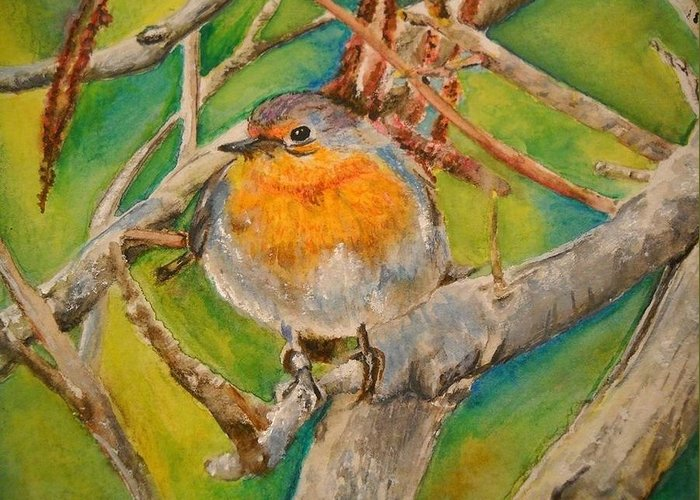 Malta Greeting Card featuring the painting Maltese Robin by Lisa Cini