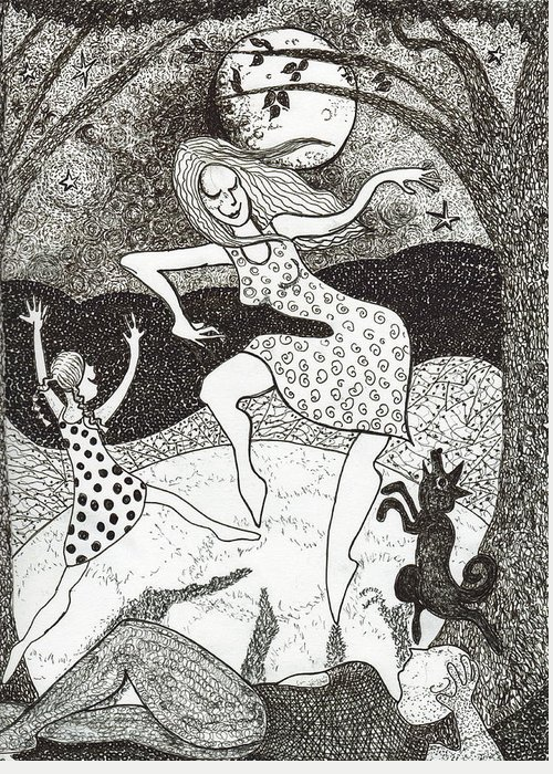 Pen And Ink Greeting Card featuring the drawing Mama Did The Moon Dance by Todd Peterson