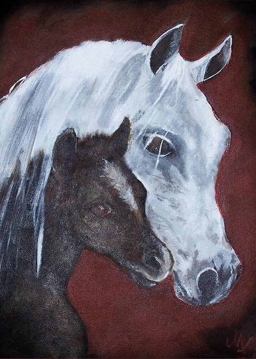 Horse Greeting Card featuring the painting Mama by Martha Mullins