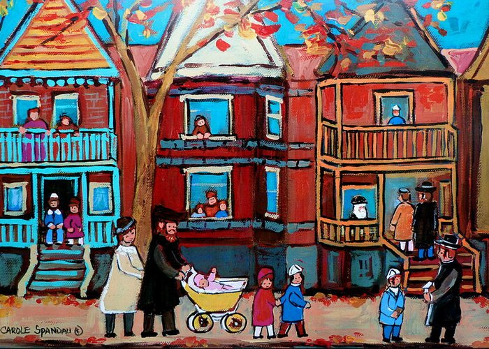 Hassidic Community Greeting Card featuring the painting Mama Papa And New Baby by Carole Spandau