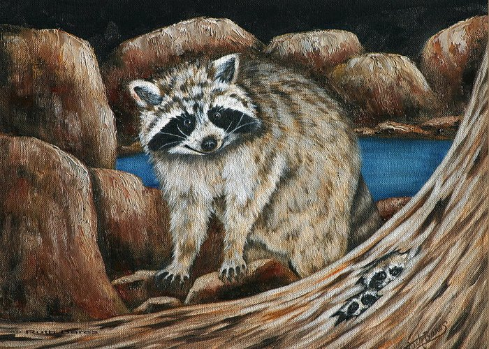 Racoon Greeting Card featuring the painting Mama Racoon by Ruth Bares