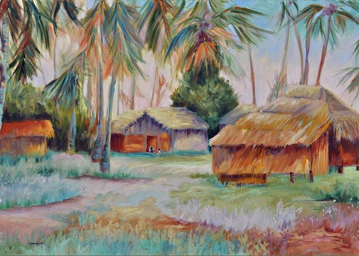 Mambasa Greeting Card featuring the painting Hut Village in Mambasa by Ginger Concepcion