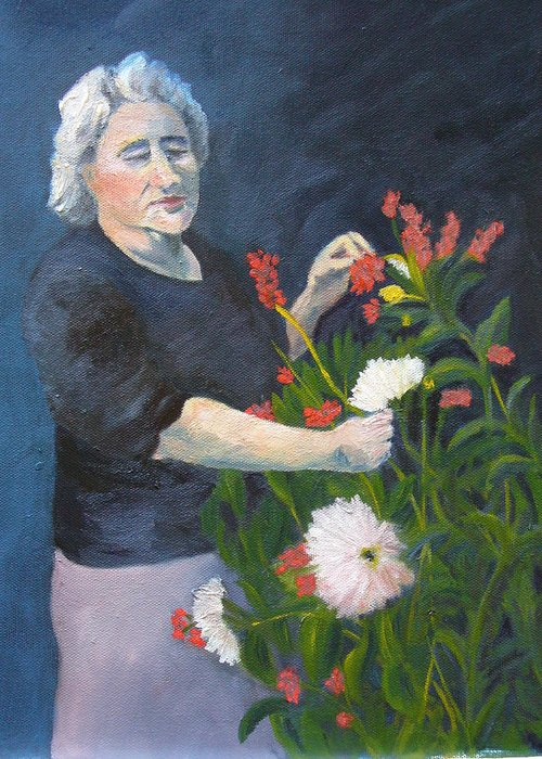 Woman Greeting Card featuring the painting Mamma Mia by Joe Lanni