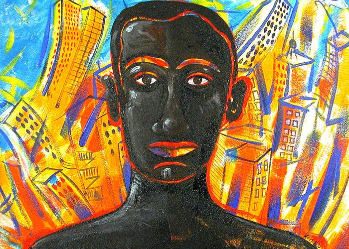 Man Greeting Card featuring the painting Man and The City by Rollin Kocsis