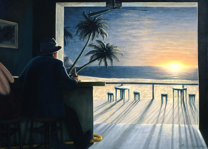 Sunset Greeting Card featuring the painting Man at the Bar by Lance Anderson
