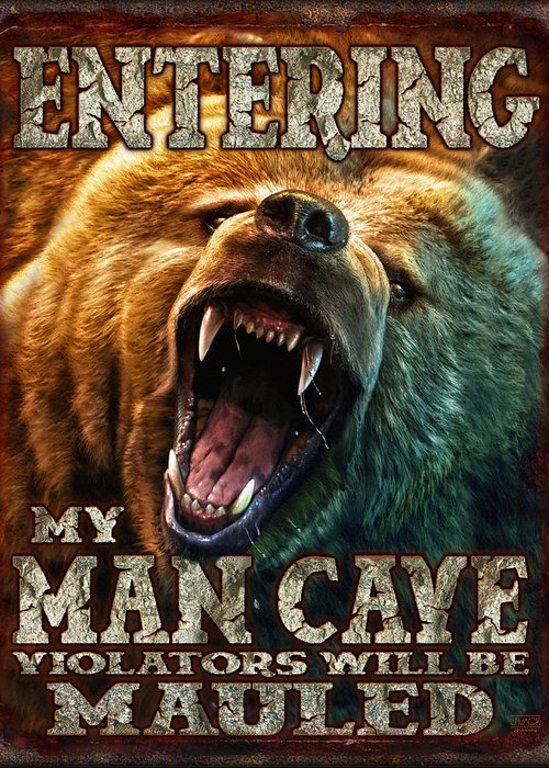 Man Cave Greeting Card featuring the painting Man Cave by JQ Licensing