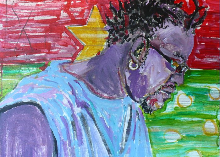 Acrylic Greeting Card featuring the painting Man From Burkina Faso by Todd Peterson