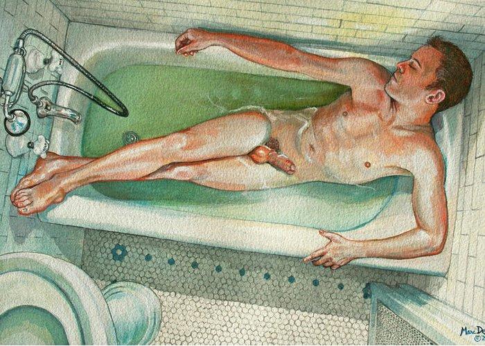 Man In Bathtub #2 Greeting Card