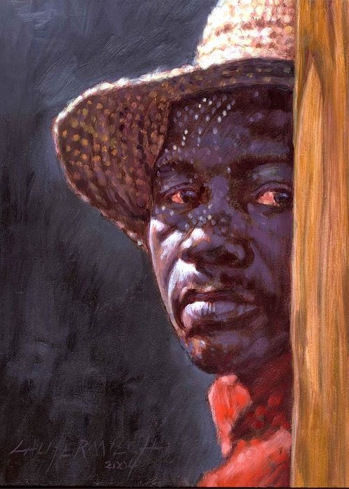 Black Man Greeting Card featuring the painting Man In Straw Hat by John Lautermilch