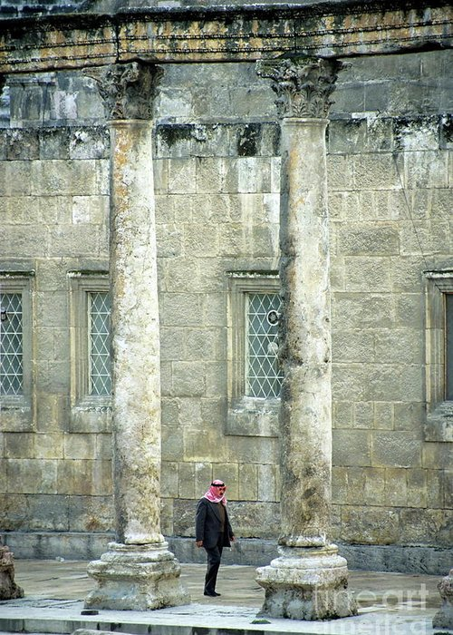 Adult Greeting Card featuring the photograph Man Walking Between Columns At The Roman Theatre by Sami Sarkis