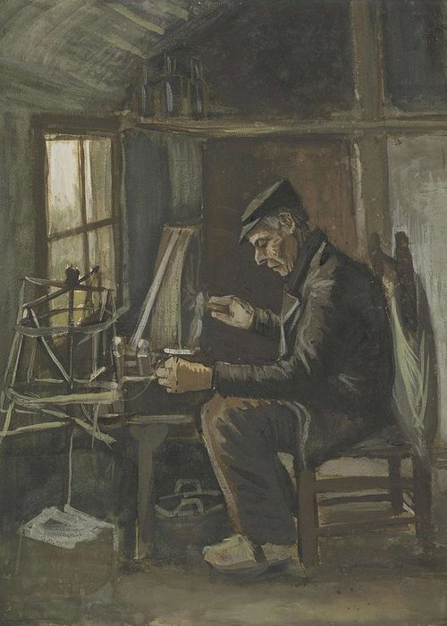 Man Greeting Card featuring the painting Man Winding Yarn Nuenen, May - June 1884 Vincent Van Gogh 1853 1890 by Artistic Panda