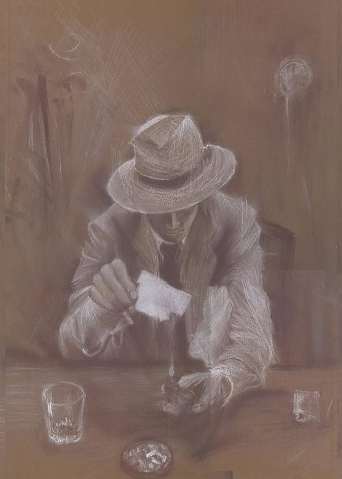 Man Greeting Card featuring the drawing Man With Heat by Jovica Kostic