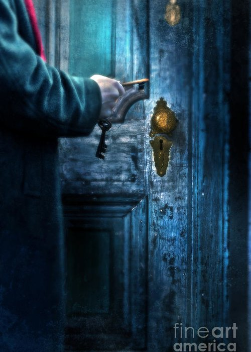 Man Greeting Card featuring the photograph Man With Keys At Door by Jill Battaglia