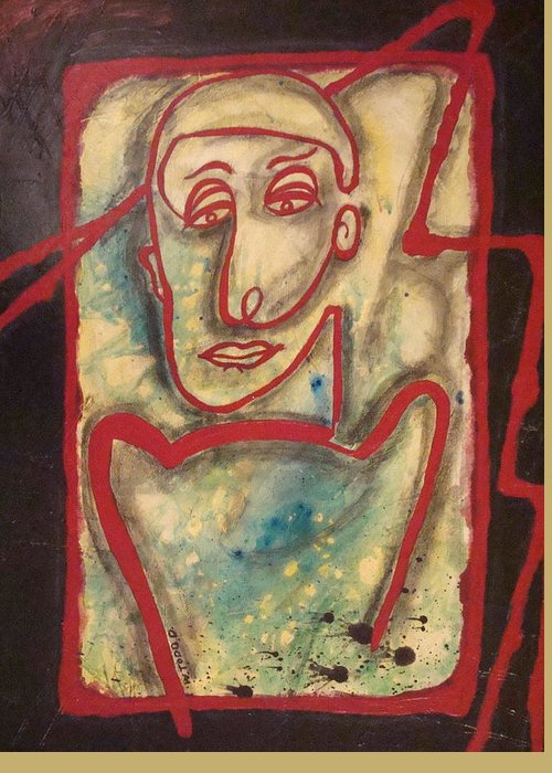 Abstract Man Greeting Card featuring the painting Man With Red Outline by W Todd Durrance