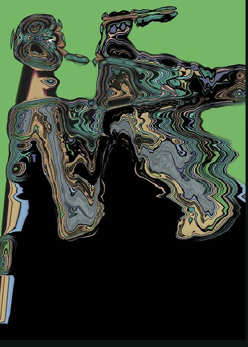 Abstract Greeting Card featuring the digital art Man Woman by LeeAnn Alexander