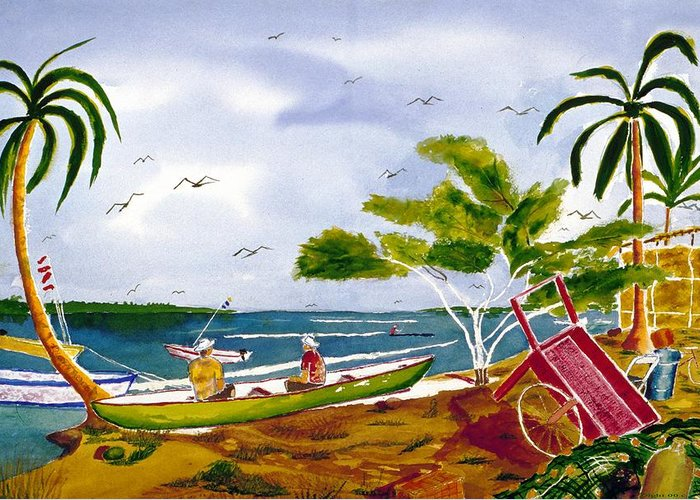 Seascape Greeting Card featuring the painting Manana by Buster Dight