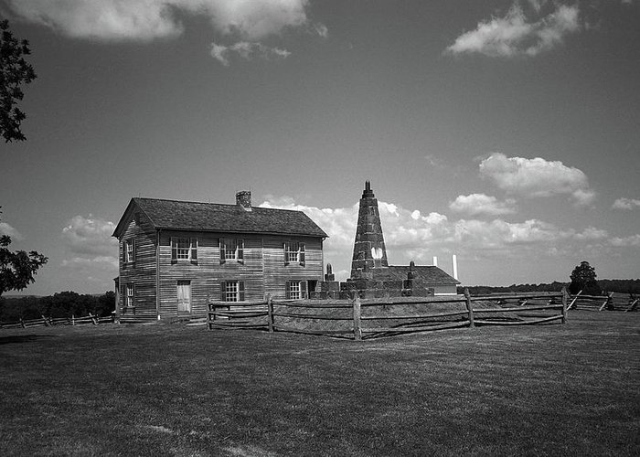 America Greeting Card featuring the photograph Manassas Battlefield Farmhouse 2 Bw by Frank Romeo