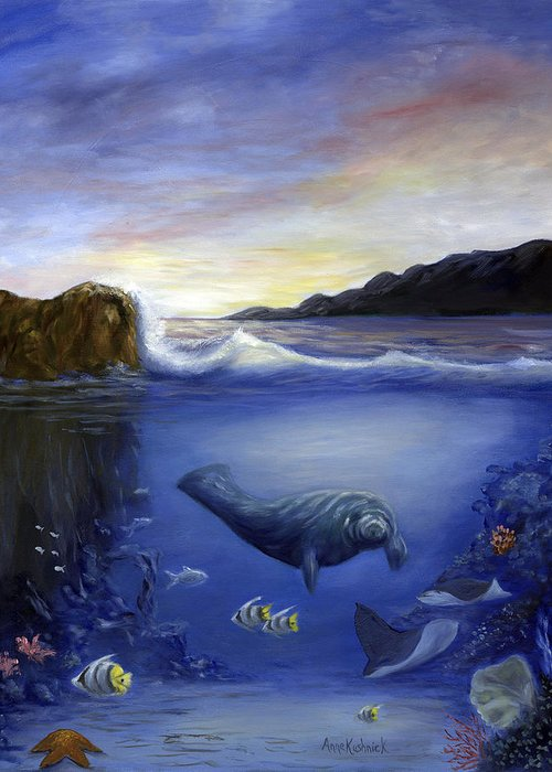 Seaworld Greeting Card featuring the painting Manatee by Anne Kushnick