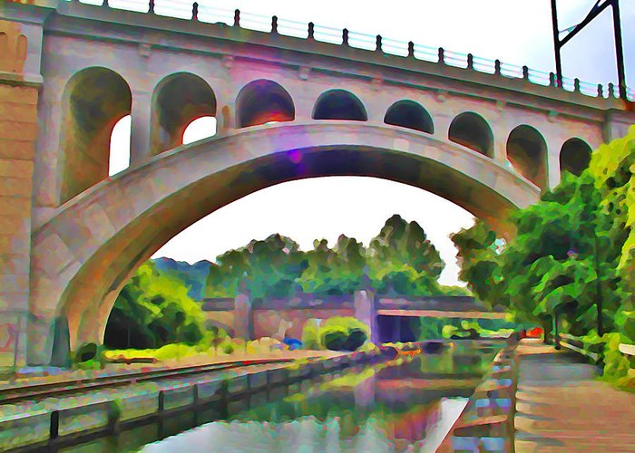 Philadelphia Greeting Card featuring the photograph Manayunk Canal by Bill Cannon