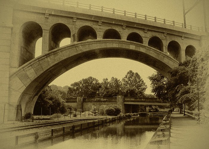 Manayunk Greeting Card featuring the photograph Manayunk Canal In Sepia by Bill Cannon