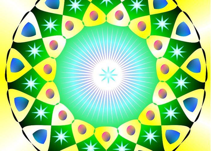 Mandala Greeting Card featuring the digital art Mandala - Healing The Heart by Konstadina Sadoriniou - Adhen