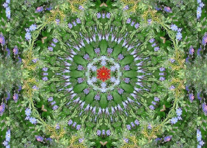 Mandala Green Circle Radiant Symmetrie Quadratic Kaleidoscope Picture Natur Natural Transformation Star Geometry Geometric Greeting Card featuring the digital art Mandala July 16 by Allen Rybo
