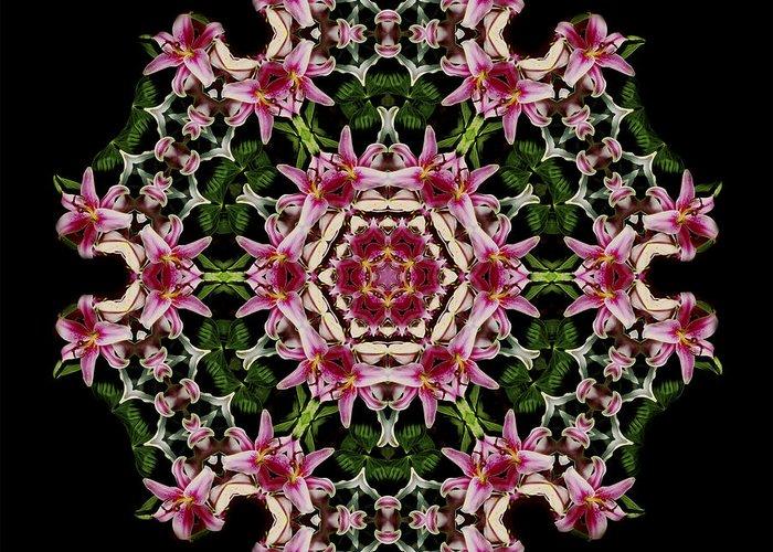 Mandala Greeting Card featuring the photograph Mandala Monadala Lisa by Nancy Griswold