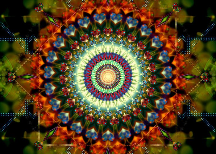Mandala Greeting Card featuring the digital art Mandala Of Loves Journey by Stephen Lucas
