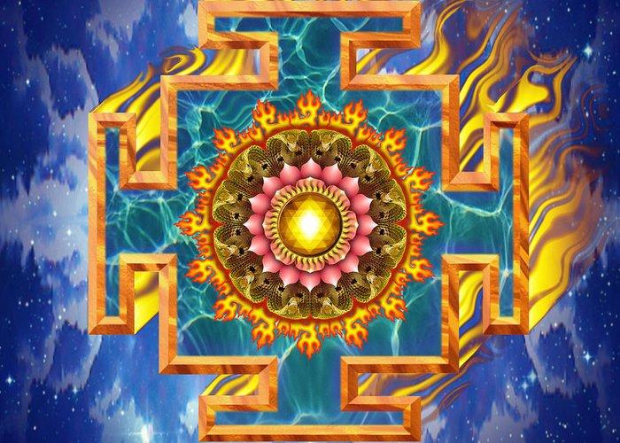Mandala Greeting Card featuring the digital art Mandala Shiva by Mark Myers