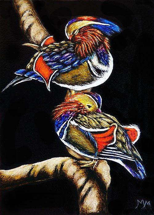 Duck Greeting Card featuring the painting Mandarin Ducks - Sa106 by Monique Morin Matson