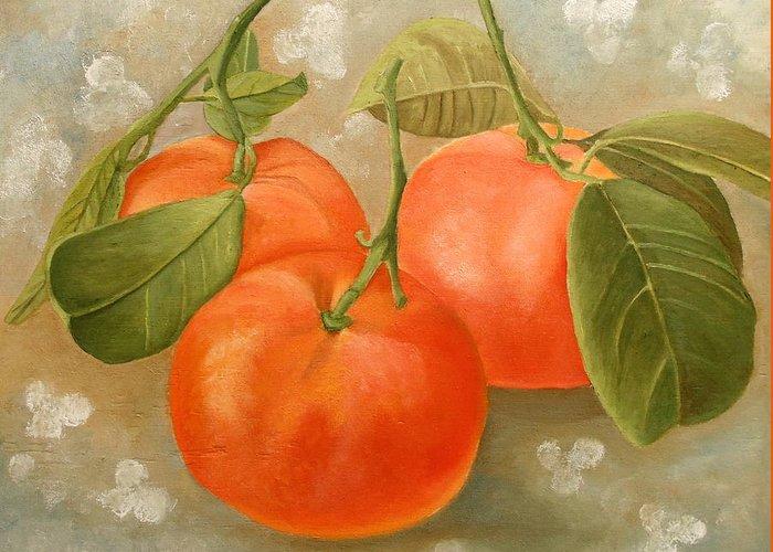 Mandarin Greeting Card featuring the painting Mandarins by Angeles M Pomata