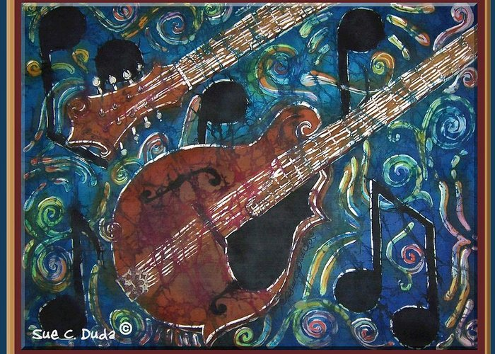 Mandolin Greeting Card featuring the painting Mandolin - Bordered by Sue Duda
