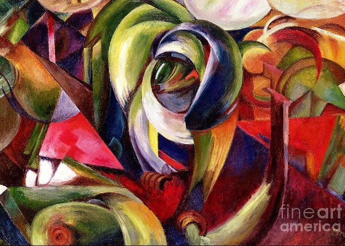 Mandrill Greeting Card featuring the painting Mandrill by Franz Marc