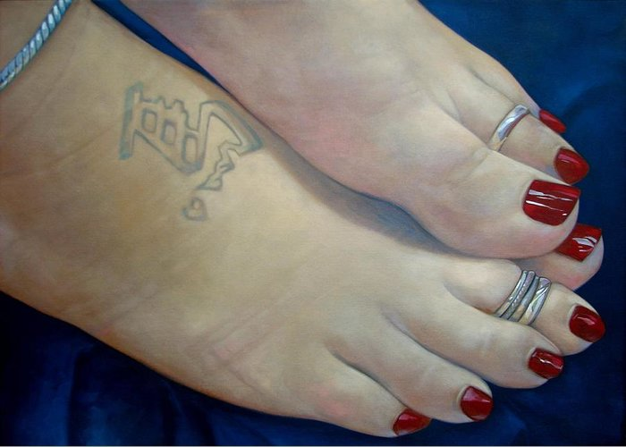 Toes Greeting Card featuring the painting Mandys Toes by Jerrold Carton
