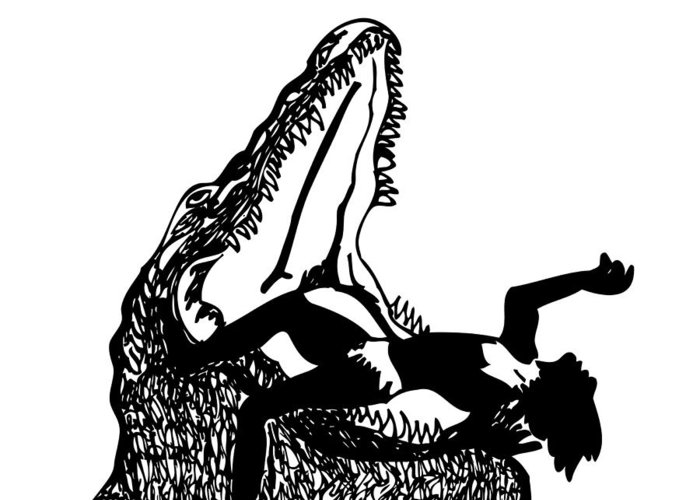 Drawing Greeting Card featuring the drawing Maneater - Alligator by Karl Addison