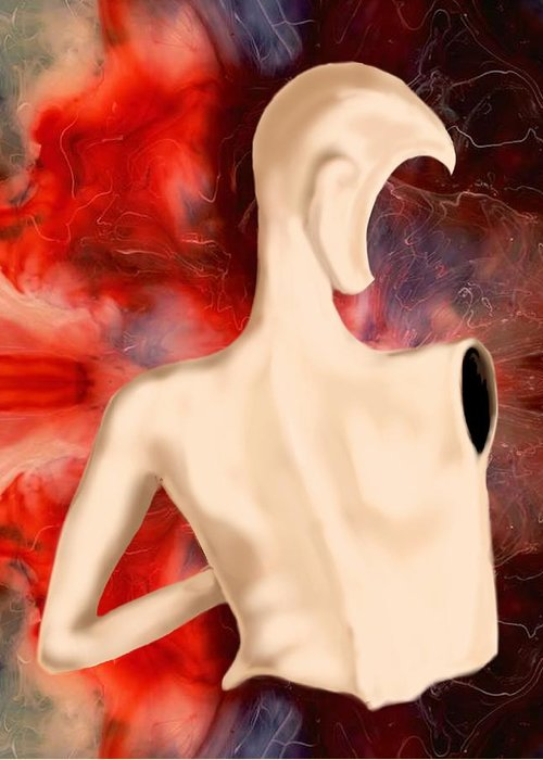 Woman Fashion Naked Surreal Abstract Greeting Card featuring the digital art Manequin by Veronica Jackson