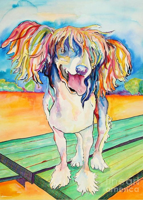 Chinese Crested Greeting Card featuring the painting Mango Salsa by Pat Saunders-White