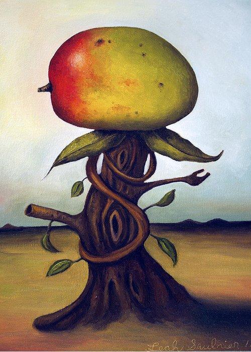 Fruit Greeting Card featuring the painting Mango Tree Aka Senor Mango by Leah Saulnier The Painting Maniac