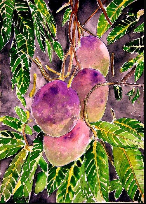 Mango Greeting Card featuring the painting Mango tree fruit by Derek Mccrea