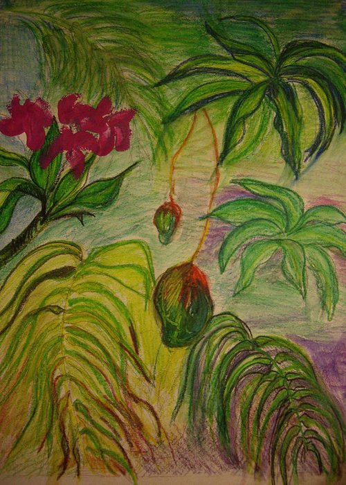 Mangoes Greeting Card featuring the mixed media Mangoes by Lee Krbavac