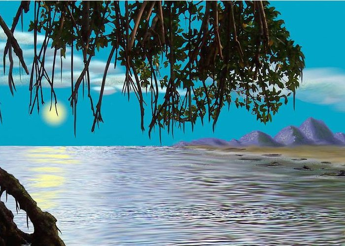 Seascape Greeting Card featuring the digital art Mangrove Morning by Tony Rodriguez