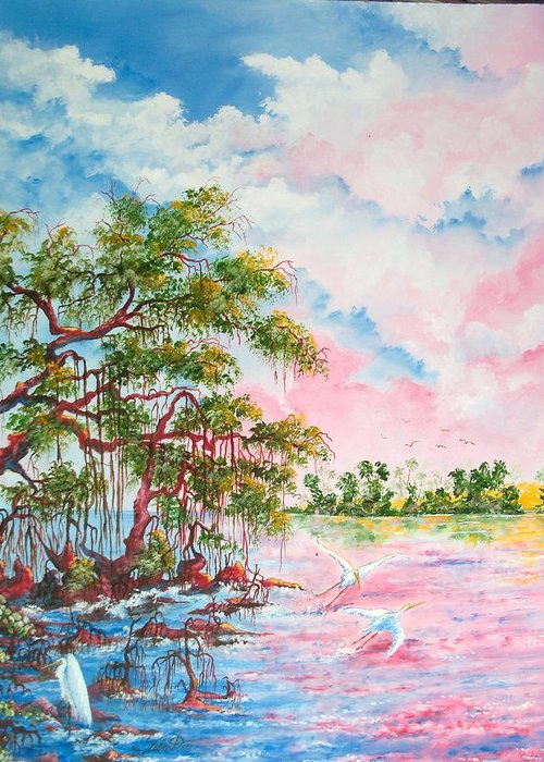 Landscapes Greeting Card featuring the painting Mangroves by Dennis Vebert