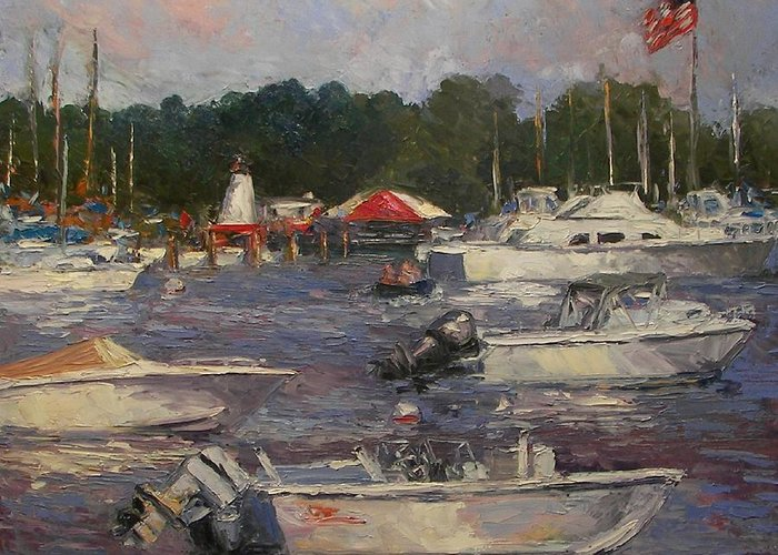Boats Greeting Card featuring the painting Manhasset Bay by Tom Forgione
