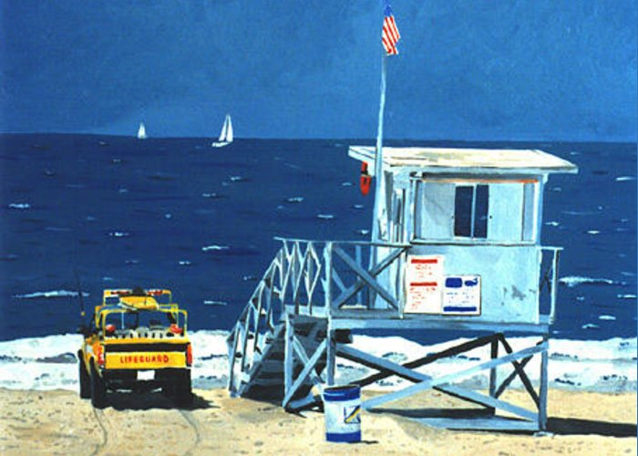 Modern Greeting Card featuring the painting Manhattan Beach Lifeguard Station by Lance Headlee